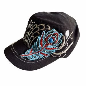 KBETHOS Black Cadet Hat w/ Beaded Peacock Feather